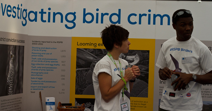 There were several stands highlighting the problem of bird crime